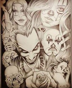 Owl Tattoo Design, Tattoo Design Drawings, Tattoo Sketches, Joker Card Tattoo, Clown Tattoo, Chicano Art Tattoos, Chicano Drawings, Comic Style Art, Comic Art