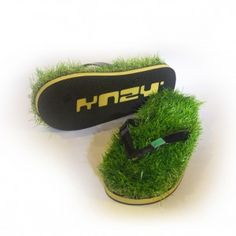 e44d5c047 Yellow Synthetic Grass Flip Flops Because who  wouldn t  want to walk on  grass all the time