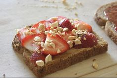 Peanut butter and strawberries on toast, my new favorite!