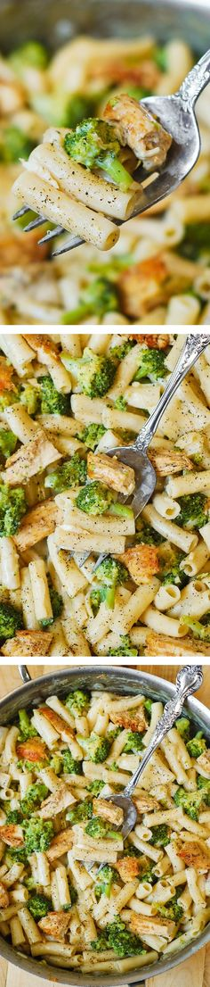 Chicken Broccoli Alfredo - Delicious, creamy chicken breast, broccoli, garlic in a simple, homemade cream sauce.