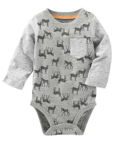 He's wild about this super soft bodysuit! Crafted with contrast sleeves and an allover zebra print, pair it with joggers for a comfy look.