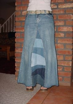 Long Jean Skirt 'Pieced and Patchwork' Custom by CustomJeanSkirts