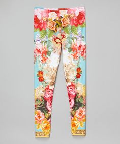 Another great find on #zulily! Turquoise Baroque Floral Leggings - Toddler & Girls #zulilyfinds