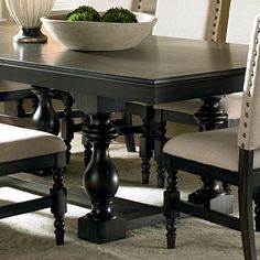 Steve Silver Company Leona Rectangular Dining Table With Leaf In Dark Hand Rubbed