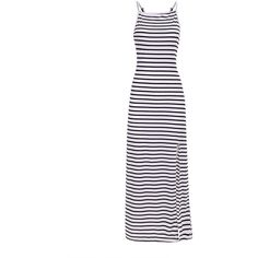 Yoins Stripe Pattern Backless Cami Maxi Dress with Split Hem ($16) ❤ liked on Polyvore featuring dresses, yoins, black, camisole dress, stripe maxi dress, maxi dress, backless dresses and backless maxi dress