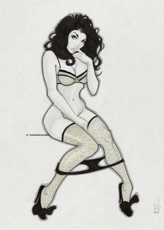 Original Art Zatanna Retro Sexy Sketch Pin Up | eBay