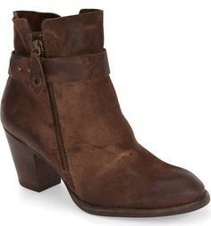 "Paul Green 'Dallas'  Bootie (Women) - Hand-burnished nubuck leather shapes a relaxed ankle bootie featuring a Western-inspired silhouette, stacked heel and modern belted detail.      2 1/2"" heel (size 8.5).     5"" boot shaft.     Dual side-zip closures.     Leather upper and lining/synthetic sole."