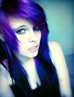 Emo girl with black and purple hair