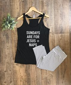 Womens Tank Tops | Sundays and Jesus Tank Top | Tank Tops For Women | Tank Top | Tank Tops With Sayings | Graphic Tanks | Sunday Funday Top