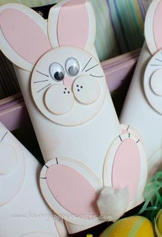 Cute Easter bunny craft with toilet paper roll