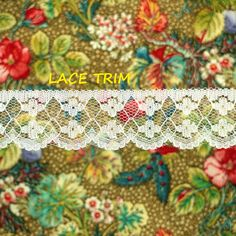 4 YARDS, WHITE, Flat Lace Sewing Edge Trim, Floral Netting, Scallops, 1-1/4 Inch Wide, L312 by DartingDogCrafts on Etsy