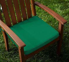 Sunbrella(R) Piped Outdoor Dining Chair Cushion; Emerald