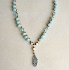 Silver+feather+bohemian+Crochet+necklace+boho+by+OlenaDesigns,+$42.00