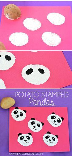 Potato Stamped Pandas - I Heart Arts n Crafts - Vegetables 🥗 Kids Crafts, Animal Crafts For Kids, Craft Activities For Kids, Projects For Kids, Diy For Kids, Arts And Crafts, Paper Crafts, Potato Stamp, Potato Print