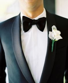 Groom's attire: Harrolds suit, Givenchy shirt, Tom Ford bow tie, Yves Saint Laurent shoes - Elegant South Melbourne Wedding captured by Stewart Leishman - via ruffled