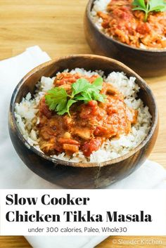 Slow Cooker Chicken Tikka Masala with Cauliflower - Slender Kitchen. Works for Clean Eating, Gluten Free, Low Carb, Paleo, Weight Watchers® and diets. Healthy Slow Cooker, Best Slow Cooker, Slow Cooker Recipes, Crockpot Recipes, Chicken Recipes, Cooking Recipes, Healthy Recipes, Slow Cooking, Kitchen Recipes