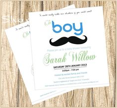Boy Mustache Whiskers theme baby shower invitation