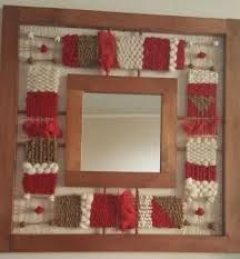 framed mirror with small woven elements rust avocado Weaving For Kids, Weaving Art, Weaving Patterns, Tapestry Weaving, Yarn Wall Art, Palestinian Embroidery, Rope Art, Loom Knitting, Frame