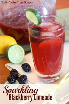 Sparkling Blackberry Limeade on MyRecipeMagic.com #blackberries #limeade #TENways