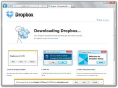 Dropbox shows different screenshots for the download process based on the Browser