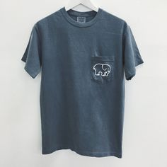Steel Blue Save The Elephants Print Tee ($29) ❤ liked on Polyvore featuring tops, t-shirts, elephant tee, elephant t shirt, blue tee, elephant print t shirt and blue top