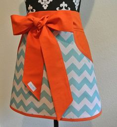 Teal Chevron trimmed in Orange Adult Half Apron with by LizzysBiz