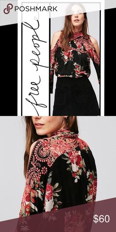 Free People Bainbridge open sleeves floral top prices firm! multiple sizes available! Note: items may not have tags, but are gauranteed new.  💕Soft floral printed top with beautiful embroidered details and peekaboo shoulder cutouts. High femme neckline with crossed back detail. Bell shaped sleeves add a retro touch. Elastic band at the waist.   •73% Viscose •27% Linen •Machine Wash Cold Separately Free People Tops Blouses
