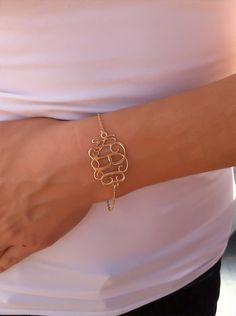 Monogram Bracelet 1.2 inch-Personalized Jewelry - 18K Gold Plated & Gold Filled chain, Christmas