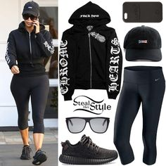 Kim Kardashian was spotted leaving Epione in Beverly Hills wearing a Chrome Hearts CH-Sleeve Zip Up Crop Hoodie ($75.99 – similar style), Nike Power Legendary High-Rise Capris ($85.00), a Kimoj Savage Dat Hat ($35.00), Saint Laurent SL01 Sunglasses ($330.00), a LuMee iPhone 6s Plus Case ($59.95) and Adidas x Kanye West Yeezy 350 Boost Sneakers ($1,500.00).