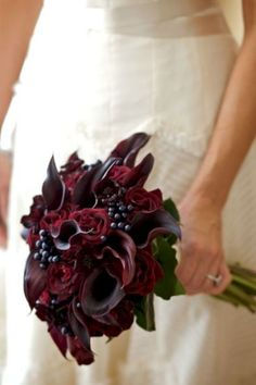 Burgundy bridal bouquet with calla lilies, roses, chocolate cosmos and berries. find this pin and more on wedding ideas Lily Bouquet Wedding, Calla Lily Bouquet, Bridal Bouquet Fall, Fall Wedding Bouquets, Calla Lilies, Wedding Dresses, Winter Wedding Flowers, Purple Wedding Flowers, Burgundy Wedding