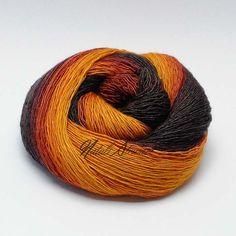 "Gradient SW Merino /Mulberry Silk Yarn ""Autumn Maple"""