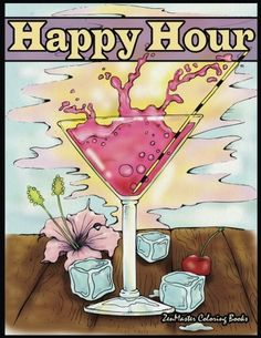 Happy Hour Adult Coloring Book: Coloring Book for Adults of Cocktails and Spirits (Coloring books for grownups) (Volume 47)