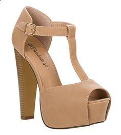 Breckelles Women's Peep Toe High Heel T-Strap Platform Sandals - Relaxbuddy Online Shopping High Heels, Women's Heels, Heeled Sandals, T Strap, Pump Shoes, Chunky Heels, Shoes Online, Fashion Online, Peeps