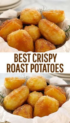 Extra Crispy Potatoes · Chef Not Required.Roast Potatoes - how to make roast potatoes in the oven. They fit all the must-haves in the best roast potatoes - crispy, crunchy and easy! I think these might be the best roast potatoes you have eve Perfect Roast Potatoes, Crispy Roast Potatoes, Baked Potatoes, Recipe For Roasted Potatoes, Best Potatoes For Roasting, Roast Dinner Sides, Roast Dinner For One, Dinner Menu, Gourmet