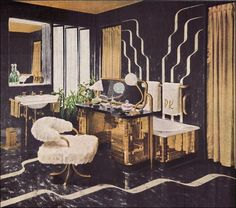 American Style Through the Decades: The Forties From Armstrong, an exuberantly decadent bathroom of gold tile and black linoleum. Note how the built-in dressing table is used as a screen for the tub. Art Nouveau, Art Deco, Mondrian, Bauhaus, Built In Dressing Table, Dressing Room, Mid Century Bathroom, Glamour Decor, Ideas Hogar