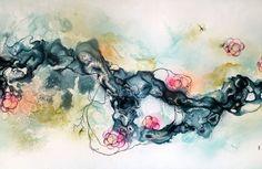 #stort #maleri til salg #abstrakt i #blå og #pink