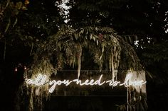 Neon signage from this gorgeous Palm Springs wedding reception  | Image by  Lauren Scotti