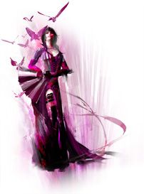 There are 8 professions in Guild Wars 2. The one pictured is the Mesmer. The mesmer has the ability to conjure copies of itself, create illusions, cause conditions, and create invisible walls and such. They are a ranged based class. You can equip a greatsword, but it becomes a ranged based weapon. The illusions the mesmer creates are actually good in PVP because they look exactly like the original and behave like the original. Mesmers can confuse real players.
