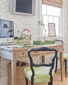 Thibaut Spring Lake Bamboo Lattice Wallpaper - Blue West Elm Small Rectangle Lacquer Tray - Sprout weathered oak desk glossy black chairs green cushions flatscreen tv glossy green lacquer tray pharmacy desk lamp seagrass rug bamboo roman shade*