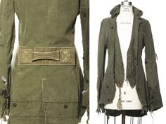 Greg Lauren; wearable clothes made from vintage US Army tents and duffel bags in linen and canvas.