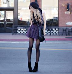 Wearing short skirts, shorts, and dresses automatically look more chic with black tights, IMO. :)