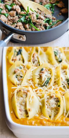 butternut-squash-sausage-stuffed-shells Swap sausage for ground turkey or chicken