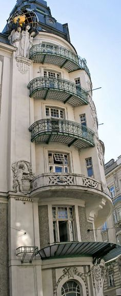 Art Nouveau facade in Vienna, Austria.  Our tips for things to do in Vienna: http://www.europealacarte.co.uk/blog/2010/07/28/the-best-of-vienna-travel-tips/