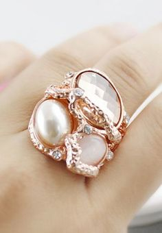Gold Crystal Pearl Ring