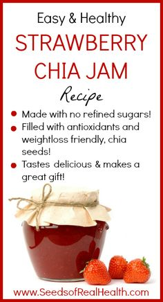 Strawberry Chia Jam Recipe - www.SeedsofRealHealth.com