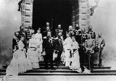 1883-  This photograph shows Kaiser Wilhelm I ( front) hosting international royalty on the occasion of imperial maneuvers in Homburg. Among those pictured are: Prussian Crown Prince Friedrich Wilhelm (in March 1888, Kaiser Friedrich III), second from right; Prince Wilhelm (in June 1888, Kaiser Wilhelm II), seventh from right; Alphons XIII of Spain, standing beside Wilhelm I; and, on the extreme right, the Prince of Wales (later Britain's King Eduard VII).