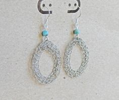 Silver crochet earrings with turquoise beads.Handmade  by ByDrora, $25.00