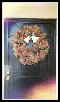 Elegant Burlap Christmas Wreath by EssmanBoutique on Etsy