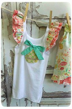 Girl Singlet Top  Willow  Art Gallery  Teal Pink by OldVintageBike, $22.00