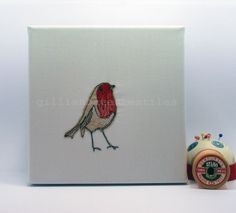 Robin  Limited Edition Embroidery Art Canvas by gillianbates, £40.00